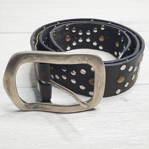 •COLE HAAN• Studded Leather Brown Belt 34/85.